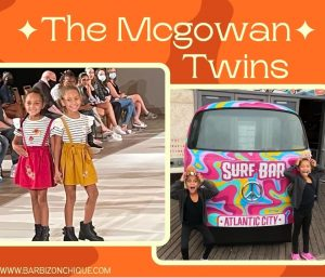 Graphic showing the Mcgowan Twins on the runway modeling and posing outside of a colorful bus