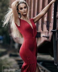 Madison modeling in a red dress