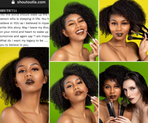 collage of Alayla modeling with makeup and makeup tools for the magazine piece