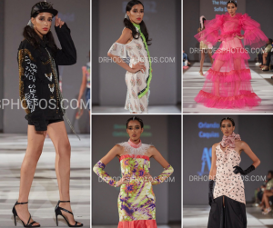 collage of Khadija Assabar modeling in different designer outfits on the Runway at Atlantic City Fashion Week