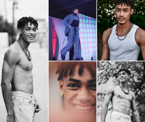 collage of modeling shots of Payton Ray including of him on the runway for APOTTS