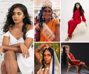 Collage of Sayjal in different modeling poses and wearing her pageant title crown and sash