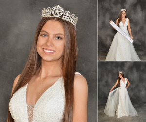 Collage of Gracen in different poses and wearing her gown, crown, and sash for Miss Simpsonville Teen USA 2022
