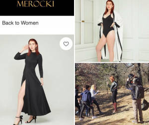 Gyllian modeling a dress and a robe as featured on Merocki's website, and a photo of her behind-the-scenes filming Red with a group of other actors