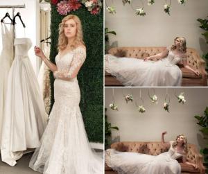 Collage of Paris Taylor modeling wedding gowns for Loré Dresses