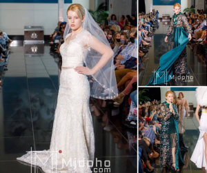 collage of Paris Taylor walking in Coastal Fashion Week wearing a bridal dress and a blue gown