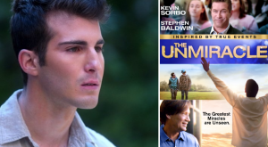 still of a close-up of Dallas next to the promotional poster for Unmiracle