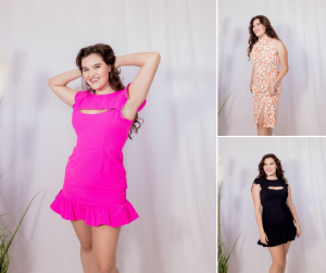 collage of modeling shots and poses of Jenna Dirk for Shoetique