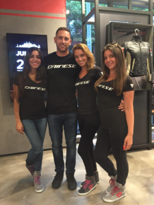 Barbizon Manhattan models Agatha, Brittany and Grace booked a promotional modeling job for the grand opening of the Dainese flagship store in NYC