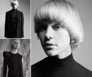 collage of Katya including a black and white headshot and two body shots of her