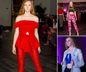 collage of Isabel walking in different fashion outfits on the runway
