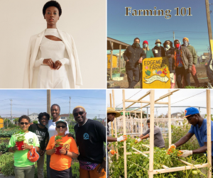 Collage including a body modeling shot of Pesi and photos from her Farming 101 initiative, kids smiling with plants, adults tending to plants, and a group photo of volunteers