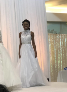 Barbizon Nova graduate Audra Agyei walked in the Aisle Savvy Bridal Experience, modeling gowns and jewelry from Zale's and Reed's