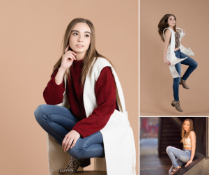 collage of Carrie modeling in different poses including seated and jumping
