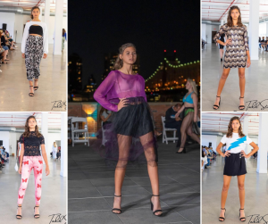 collage of Francesca modeling in different designer outfits at NYFW