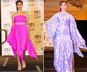 side by side photos of Francesca modeling in different designer dresses for the fashion show