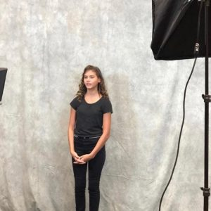 Behind the Scenes photo of Francesca on set