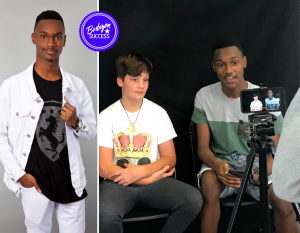 Body shot of Joshua Bryant and behind-the-scenes filming the Elevate Studios campaign