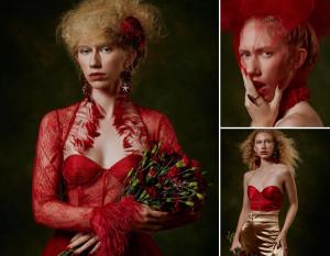 Collage of Lauren Allen wearing red for her editorial shoot