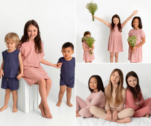 Collage of Madelyn modeling with other child models for Pouf, smiling and wearing pajamas