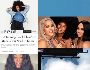 Collage: Candice posing, smiling with her hands in her hair, close-up of her face on the front of the featured article, and on the mentioned billboard with two other models