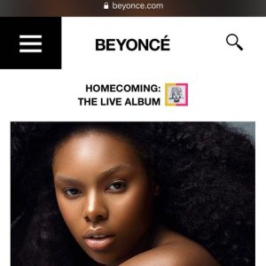 Candice on Beyonce's website