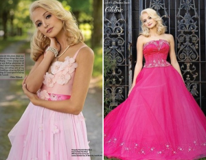 body shots of Chloe modeling in pink dresses in the editorial