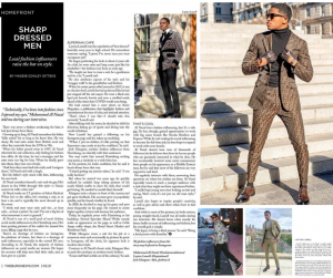 collage of Layton Lamell's feature in The Burge News with photos of him in different fashionable oufits