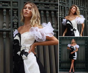 collage of McKenzie wearing a black and white vintage dress modeling in a different poses