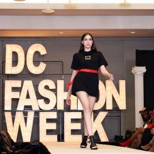 Samantha walking on the runway at DC Fashion Week