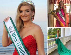collage of Skylar in different gowns and holding her award winning sash