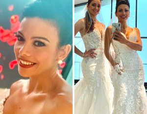 side by side images of close-up of Yusby on the left and Yusby with another model wearing wedding dresses from the bridal photoshoot