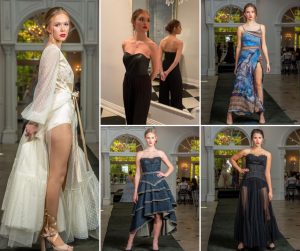 Collage of Red Bank grads modeling in different designer couture outfits on the runway
