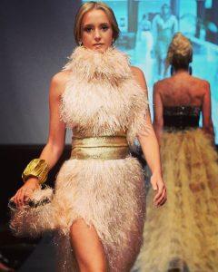 Ellyana walking the runway at New York Fashion Week