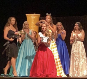 Rachel on stage during her crowning moment