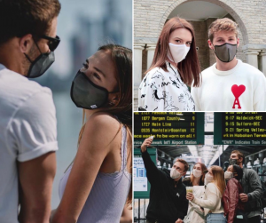 collage of Barbizon Red Bank grads posing in couples wearing makses and a group photo fo them in a train station wearing masks and posing for a selfi