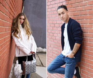 a male and female Red Bank grad modeling street spring fashion