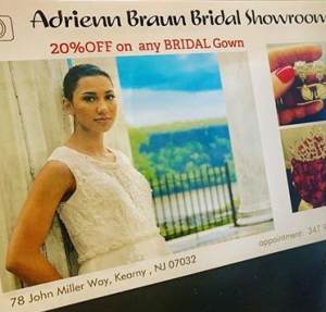 Barbizon Red Bank model Nicole is in a campaign for Adrienn Braun Bridal