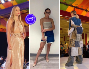 collage of Red Bank students on the runway: blonde girl posing in a golden dress, young girl waring a two-toned dress, and back view of a lady modeling a pieced together vest