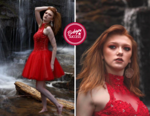 Aricca posing in a red dress in front of a waterfall and an up-close shot for the photoshoot