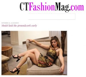 Article cover with image of Brooke modeling by reclining on a chair