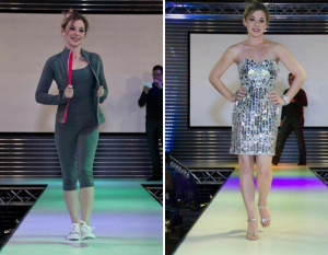 Amy on the runway in sports attire and a shiny dress