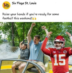 Social media post from Six Flags St. Louis with an image of Chris and his son riding a water ride with their hands up next to Kansas City quarter back