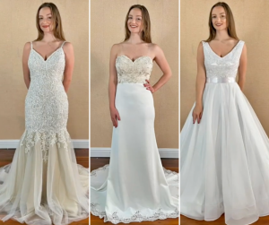 collage of Gracey wearing different wedding gown styles