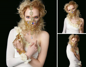Collage of Graci wearing and elaborate gold wired and jeweled mask and guantlet in three different poses and a white slimmed body suit