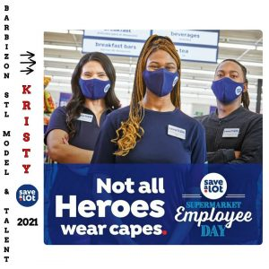 print advertisment for Save a Lot with Kristy featured on it modeling as an employee
