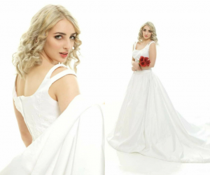 modeling shots of Naomi in a wedding dress for LaMerite Bridal Shot