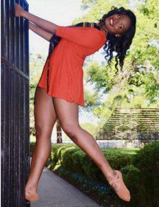 TaShayla modeling in a dance pose
