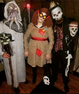 grads dressed up in costume as scare actors