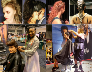 collage of Barbizon St. Louis students and grads getting their hair done by hair stylists along with close-ups of the finished ponytail designs